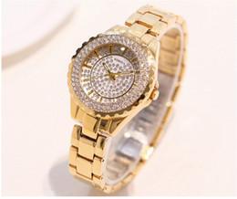 Billige strass uhr online-30mm Kleine Damenuhr Stoßfest Luxus Damen Ar Metalluhr armbänder Strass Bu Günstige Chinesische Uhren
