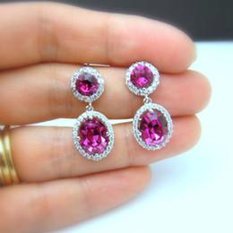Красные свадебные украшения онлайн-Korean Fashion Red CZ Stone Drop Earrings for Women Wedding Jewelry  Crystal Engagement Earrings Brincos Bijoux L5Q160
