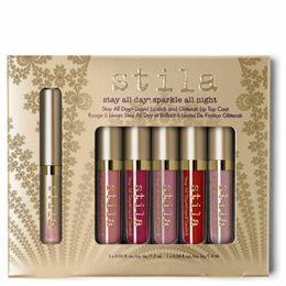 Estancia de labios online-Hot Stila Makeup Stay All Day Colección de kit de capa superior de labio líquido y brillo de labios Glitterati en 6 tonos Juegos de cosméticos de brillo de labios mate Envío gratis