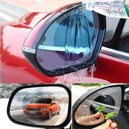 clear view car Promo Codes - Nanometer Waterproof Car Rearview Mirror Clear Screen Protector Film Automobile SUV Rear View Rainproof Anti Fog Anti Glare 2Pcs pack QP006