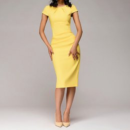 382df8dba313 2019 vestito midi giallo del manicotto giallo Abito elegante Abito  longuette Guaina Manica corta O-