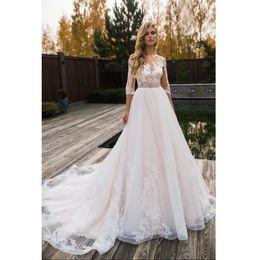 Linha de vestidos de noiva mangas de três quartos on-line-Vestido de casamento de Três Quartos mangas Vestidos de casamento Vestidos de Novia 2019 Lace Vestido de Noiva Trouwjurken Mariage Robe