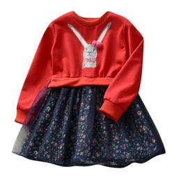 rotes häschenkleid Rabatt 2019 rot oder Rosa Kleinkind Kinder Baby Mädchen Kleidung Cartoon Bunny Floral Prinzessin Kleid Outfits Kleidung Kleid für Mädchen vestido menina