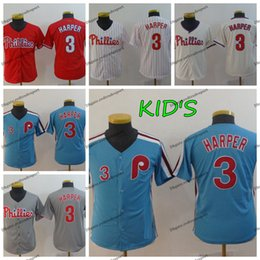 158a5da33cd34a shirt da baseball per bambini Sconti 2019 Bambini Philadelphia Youth  Phillies Bryce Harper maglie da baseball