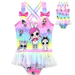 Poupées de natation en Ligne-2019 nouveaux styles lol enfant créatif une pièce maillot arc-en-ciel motif de poupées de dessin animé fille Swim kids maillots de bain