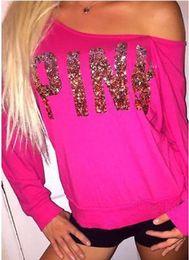 46004044c5b94 2019 Sexy Pink Letter Lentejuelas Bling Love Pink T-Shirt Off Hombro  Pullover Sudaderas Camisas de manga larga Tops sin tirantes Mujer Ropa