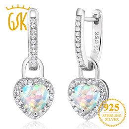 GEMSTONEKING 2.00 Ct White Simulated Opal White Created Sapphire 925 Sterling Silver Earrings For Women Fine Jewelry от