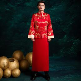 Traje de torrada on-line-Bordado Dragão Homens Cheongsam Estilo Chinês Noivo Casamento Roupas Casaco Tradicional + Robe Macho Tang Terno Toast Costume