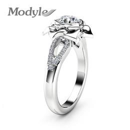 gran anillo de flores de plata Rebajas Modyle 2018 nueva moda Big CZ Stone Silver Color Flower anillos de boda para mujer Dropshipping de alta calidad