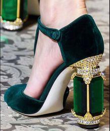 2019 robes mary jane Nouvelle Arrivée Designer Strass Bijoux Talon Mary Jane Chaussures Velvet Soirée De Bal Prom Dress Chaussures robes mary jane pas cher