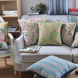 cojines florales rosas Rebajas Funda de almohada decorativo del hogar suave terciopelo / algodón de lino del amortiguador de la cubierta de la vendimia lamentable elegante floral verde rosado de 45x45cm Y200104