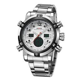 2019 reloj lcd de cuarzo WEIDE Hombres Reloj electrónico digital automático LCD Relojes de camping Reloj de pulsera de cuarzo Led Reloj de acero inoxidable Sport Orologio WH5205 rebajas reloj lcd de cuarzo