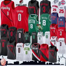 nueva derrick rose Rebajas NCAA de baloncesto jerseys Damian Lillard 0 de New Jersey CJ 3 McCollum Kemba Walker 8 Derrick Rose 25 mejores hombres de la calidad 2019 Nuevos