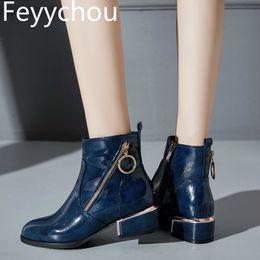 2020 женские синие лакированные кожаные туфли Women Boots Autumn Winter  Shoes High Heel Zip Pointed Toe Ankle 2018 New Sexy Fashion Patent-leather Black Blue Wine Red скидка женские синие лакированные кожаные туфли