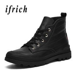 2019 botas negras de la motocicleta del mens Primavera otoño hombre Sneaker Boots Wearable negro zapatos casuales hombres tobillo botas de moto para hombre moda cuero botas negras de la motocicleta del mens baratos