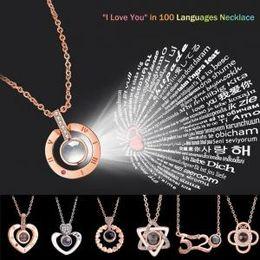 coração, colar, valentine Desconto Colar de memória de coração redondo 17 estilos cadeia 100 línguas eu te amo 520 projeção pingente de jóias romântico presente do dia dos namorados AAA1654