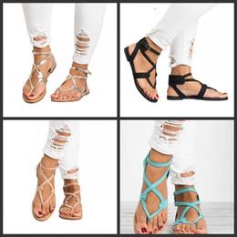 Sandálias de tira elástica on-line-Sapatos de verão Fivela Banda Sandálias Pitada de Fundo Plana Entrelaçamento Fita Tira No Tornozelo Elástico Senhoras Plus Size Moda 25dff1