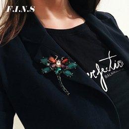 2019 nachahmung kostüm schmuck F.I.N.S 3 Farben Insekten Libelle Broschen Pins für Frauen Blau Grün Kristall Broschen Frauen Vintage Weiblichen Modeschmuck günstig nachahmung kostüm schmuck