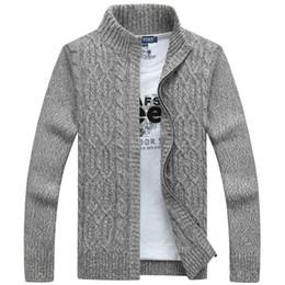 pull cardigan gris en cachemire Promotion 2019 Hommes Pulls Vêtements D'hiver Marque Homme Pull Casual Hommes Cardigan Épais Pull En Cachemire Survêtement D'hiver Gris Bleu