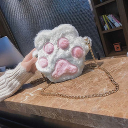 fluffy bags Coupons - Autumn Winter Sweet Girl Casual Plush Cute Cat Paw Metal Chain Crossbody Bags Women Lady Fluffy Shoulder Bag Popular Ab@w3