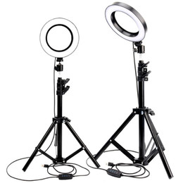 Foto video trípode online-Anillo de luz LED Foto de estudio Cámara de luz Fotografía regulable Luz de video para Youtube Maquillaje Selfie con trípode Soporte para teléfono