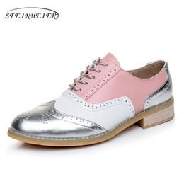 appartements pour l'hiver Promotion Femmes chaussures hiver plat en cuir véritable casual oxford chaussures à la main pour les femmes baskets vintage lady appartements 2018 noir # 11188