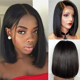 cabelo de bobo Desconto Mulheres sem cola brasileiras Curta Reta Bobo Peruca Front Hair Side-parted
