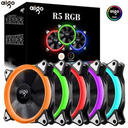 2019 ventilador de pc 12v Aigo 120mm Fan PC Case Fan Cooler Ajustable Aurora RGB Led Computer Cooling 12V Mute Ventilador PC Case para computadora rebajas ventilador de pc 12v