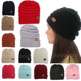 b7ae4e3b7f347d Fashion Men Women's Hats CC Labeling Beanies Winter Knitted Wool Skull Cap  Unisex Warm Folds Casual Hat 13 Colors Wholesale Price
