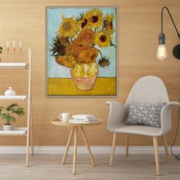 2019 óleo, abstratos, pintura, girassóis Pintor famoso Van Gogh Girassol Réplica Pintado À Mão Pintura A Óleo Abstrata Da Arte Da Parede de Alta Qualidade Na Parede Da Lona de Arte Em Casa Escritório Deco L34 óleo, abstratos, pintura, girassóis barato