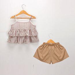 Simpatiche bretelle per le ragazze online-2019 Summer Girls stripe suspender Tute 2pcs Set Ruffle Shirt + Dress Short Cute Baby Outfits Abbigliamento per bambini Set Abbigliamento per bambini boutique