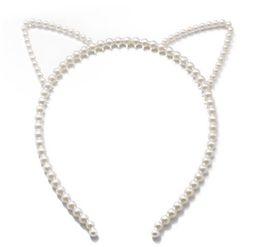 disfraz de gato mujer Rebajas Mujeres de la muchacha del pelo de los aros del pelo palillo de gato dulce Animal del oído de conejo del arco de perlas de imitación diadema con cuentas vestido de lujo del sombrero para la fiesta del traje