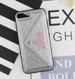 Rosa lg teléfonos online-Ranura para tarjeta Caja del teléfono rosa Diseño Glitter Bordado 3D Amor Cubierta del teléfono celular cubierta del teléfono celular para iPhone X DHL libre