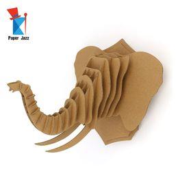 Canada Décoration de la maison puzzle 3D animal puzzle en carton jeu tête d'éléphant décoration puzzle enfants éducation jouets modèle décorer Offre