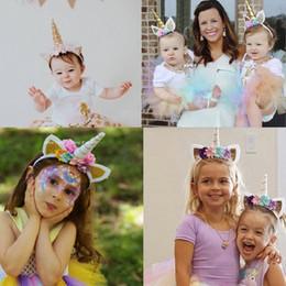 Gatos de chocolate on-line-Meninas Orelhas de Gato de Flores Bonito Unicórnio Headbands Crianças Headwear Adereços Foto Partido Hair Hoop Hairbands Crianças Acessórios Para o Cabelo