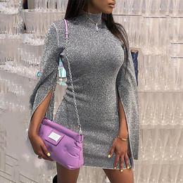 Col Roulé Robe Femmes Slit Flare Manches Robe Moulante Automne Shinny Mini Robes Argent Paillettes Robe De Soirée Vestiods Mujer J190509 ? partir de fabricateur