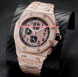 Pulseira offshore on-line-3 Cor Topselling Top Quality 42mm Offshore Diamante Completa Dial Beze Pulseira 18k Ouro VK Quartz Chronograph Workin Mens Watch Relógios