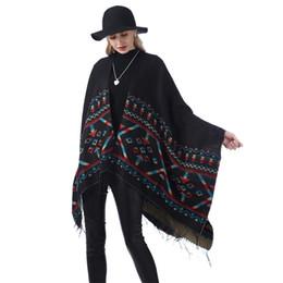 Argentina Las mujeres de gran tamaño de rayas mantón de moda a cuadros cálido bufanda de invierno causal dama manta de punto estilo nacional Split capa TTA1285 Suministro