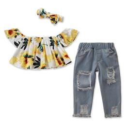 Jeans strappati di prua online-2019 estate bambini abiti ragazze boutique abbigliamento per bambini vestiti baby camicie girasole camicie a spalla strappati jeans denim pantaloni archi