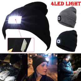 Tappo cappello lampada online-Nuovo design 4 LED Head Lamp Knit Beanie Hat Light Cap Campeggio Pesca Caccia Outdoor