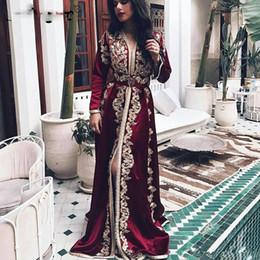 2019 myriam tarifas faldas 2.020 musulmanes de manga larga vestidos de noche Apliques amarillas una línea de Dubai Arabesco ocasión formal Vestidos de fiesta fin de curso por encargo