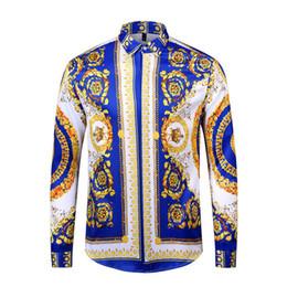 designer vestido de camisa de impressão floral Desconto Designer de moda camisa fina dos homens 3D Medusa ouro preto floral impressão vestido dos homens de manga comprida de negócios casual camisa dos homens roupas M-2XL