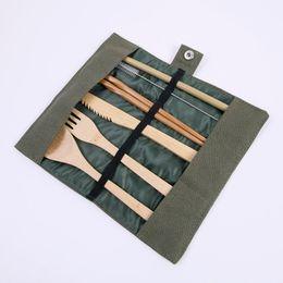 herramientas de catering Rebajas Vajillas conjunto de madera de bambú cucharadita de sopa Tenedor Cuchillo Catering cubiertos conjunto con el bolso del paño de cocina Herramientas del utensilio de cocina EEA550