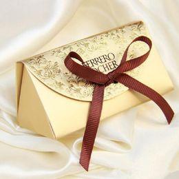 papier de velours en gros Promotion Faveurs de mariage Fournitures Boîtes de bonbons Parti Baby Shower Gift Ferrero Rocher Chocolats Box Sweet Cadeaux Sacs Fournitures