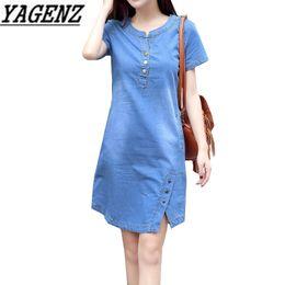 Denim-taschenkleid online-Koreanisches Denim Kleid für Frauen 2019 neue Sommer-beiläufiges Jeans-Kleid mit Knopf Tasche Sexy Denim-Minikleid plus Größe 3XL A1425