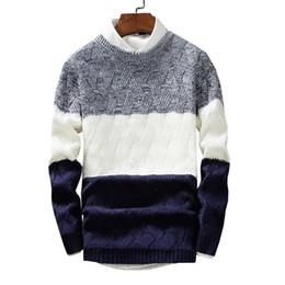 Большие свитера падения онлайн-Nice осень мужские свитера зимние мужские тонкие большие полосатые молодые мужские теплые пуловеры свитера