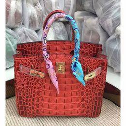 Vintage krokodil-taschen online-3A Qualität Designer Gold Schnalle Harte Krokodilknochen Echtes Leder Handtasche 2019 Neue Mode Lässig Totes Handtaschen für Frauen 25 cm 30 cm 35 cm