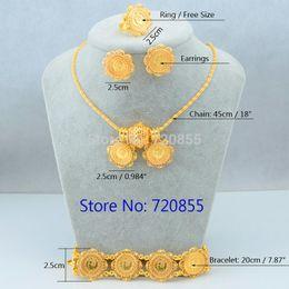 24k gold ohrring anhänger sätze online-Neue Ankunft Äthiopischen Stil Münze Anhänger Halskette / Ohrring / Ring Koptische Set Schmuck 24 Karat Gold Überzogene Afrikanische / Brasilien / Eritrea Frauen