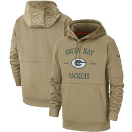 militärische grüne fleecejacke Rabatt NEW Green Bay Herren-Packers Tan 2019 Salute to Service-Sideline Therma PulloverHoodie Sports Fußball Sweatshirt Wear Frauen