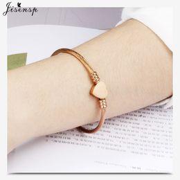 Jisensp En Acier Inoxydable Coeur En Forme De Charme Bracelets Bracelets pour Femmes Pulseras Lady Bras Bracelet Demoiselle D'honneur Bijoux Cadeau ? partir de fabricateur